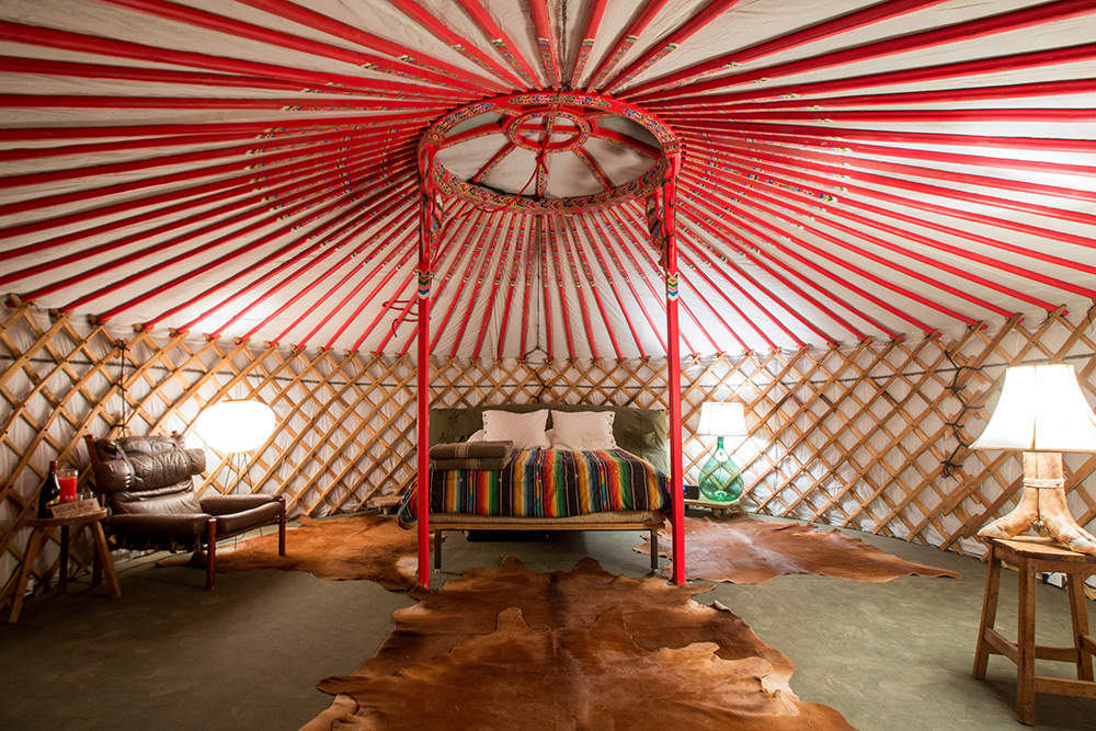 Yurts El Cosmico A traditional yurt (from the turkic languages) or ger (mongolian) is a portable, round tent covered with skins or felt and used as a dwelling by several distinct nomadic groups in the steppes of central asia. yurts el cosmico